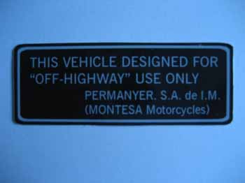 "MO166B (leyenda ""This Vehicle Designed for Off-Highway...)"